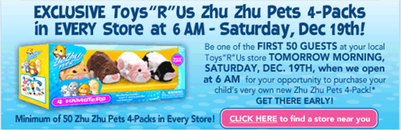 Zhu Zhu Pets in Toys R Us Stores